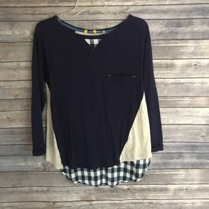 Anthropologie.Little yellow button long sleeve top
